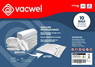 Vacwel Vacuum Storage Bags for Clothes, Ziplock Space Saver Bags (XXXL + Jumbo Size)