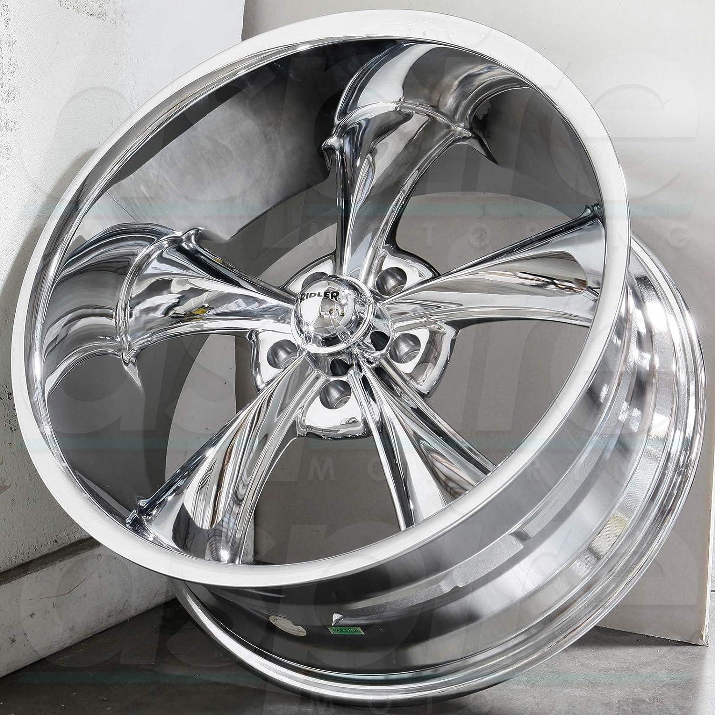 22 x 10.5 inches //5 x 127 mm, 0 mm Offset Ridler 695 MATTE BLACK//MACHINED LIP Wheel Finish