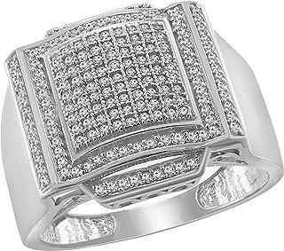 مجوهرات تريليون 0.54CT جولة قص الماس في 14K الذهب الأبيض Fn للرجال خاتم الخطوبة