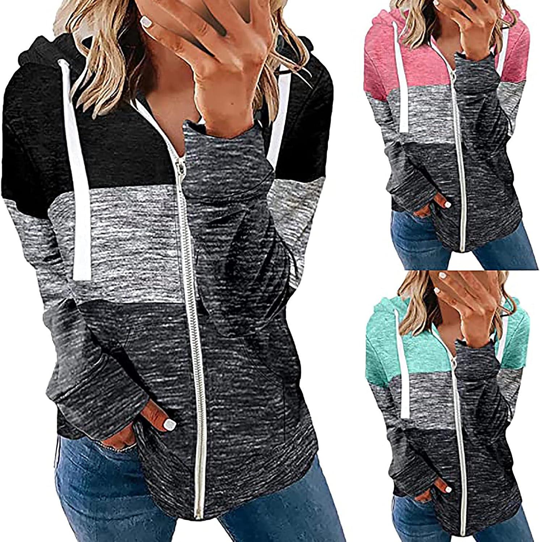 TERGAYEE Women's Zipper Hoodie Coat Color Block Drawsting T Shirts Coat with Pockets Long Sleeve Casual Sweatshirt Fall Xmas