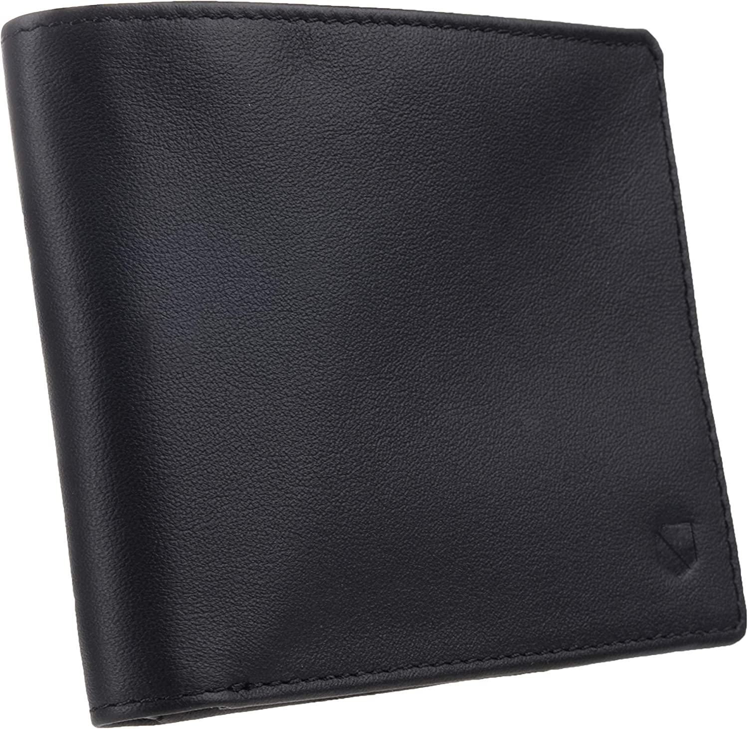 Silent Pocket Black Leather RFID Blocking Jet Black Bi-Fold Wallet - Prevents Hacking and Identity Theft, Protects Credit Cards, Secure Your Information, Instant Protection, Great for Travel