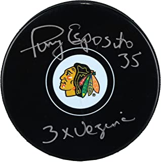 "Tony Esposito Chicago Blackhawks Autographed Hockey Puck with""3x Vezina"" Inscription - Fanatics Authentic Certified"