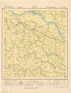Historic Pictoric Map : Faridpur, Jessore, Nadia & Pabna Districts, Bengal, No. 79 E/N.W. 1927, India and Adjacent Countries, Antique Vintage Reproduction : 34in x 44in