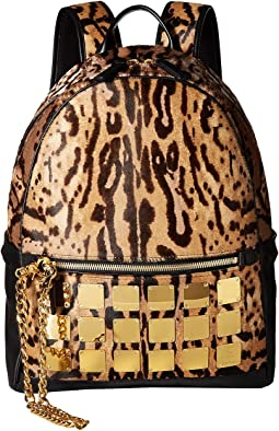 Stark Brass Plate Leopard Backpack Medium