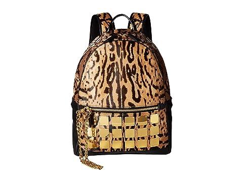 MCM Stark Brass Plate Leopard Backpack Medium