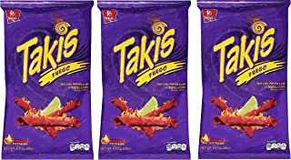 Tortilla Chips mit Chili-/Limettengeschmack, Pack 65g - BARCEL Takis Fuego - Papitas de Maíz Sabor Chile y Limón, 65g nur eine Packung