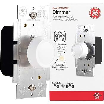 Leviton Ivory 3-Way Rotary Push ON//OFF Light Dimmer Switch 600W 6683-I