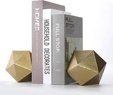 Ambipolar Geometric Shelf Decor Ball Shape Iron Cast Decorative Bookend Or Organizer, 2 Pack (Gold) - New Size