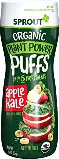 Sprout Organic Baby Food Baby Snacks Plant Power Puffs, Apple Kale, 1.5 Ounce Canister (Pack of 6)