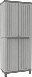 Terry C-Wood 3680 Armario 2 Puertas con Divisor Vertical y 3 Estantes Internos GrisNegro 68x39x170 cm