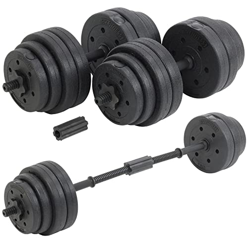 3d88389b605 DTX Fitness 30Kg Adjustable Weight Lifting Dumbbell Barbell Bar   Weights  Set - Black