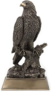 Veronese Design 17 Inch Bald Eagle Perching On Tree Branch Antique Bronze Finish Platformed Large Animal Statue