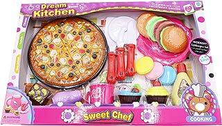 JOYSAE Dream Kitchen Play Set Toy, Sweet Chef Pizza Maker Toy, 25+ PCS Baking Set, Best Gift for Kids
