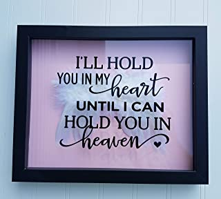 Amy's Bubbling Boutique Miscarriage Memorial Box - Memorialize Your Unborn Baby with Our Beautiful Memorial Shadow Box Filled with Angel Wing Feathers (Black Box with Pink Background)