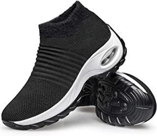 Women's Walking Shoes - Sock Sneakers Slip on Mesh Platform Air Cushion Athletic Shoes Work Nurse Comfortable