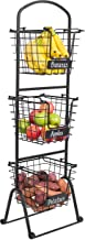 BIRDROCK HOME 3-Tier Wire Market Basket Stand with Chalk Label - Fruit Vegetable Produce Metal Hanging Storage Bin for Kitchen - Free-Standing or Stacking Organizer - Black