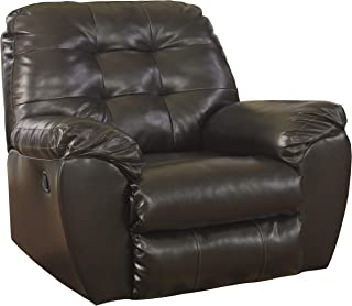 Signature Design by Ashley - Alliston Contemporary Faux Leather Rocker Recliner - Pull-Tab Reclining, Chocolate