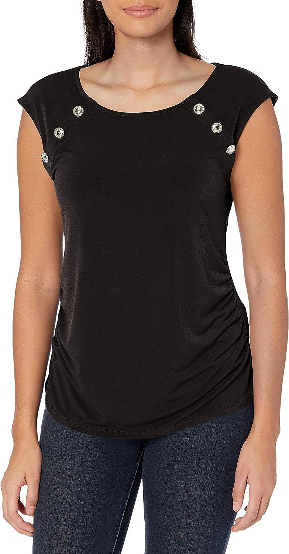 Store Calvin Klein Baltimore Mall Women's Sleeveless Detail Top with Button