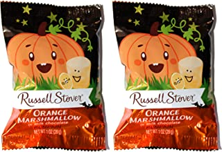 Russell Stover (2) Pieces Orange Marshmallow in Milk Chocolate Pumpkin - Halloween Candy Bars - 1 oz each