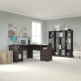 Bush Furniture Cabot L Shaped Desk and 16 Cube Bookcase in Espresso Oak