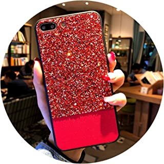 Phone Case for iPhone X XR XS Max 8 7 6 6s Plus Luxury Bling Glitter Shining Back Cover Cases for iPhone X Coque Capa,Red,for iPhone XR