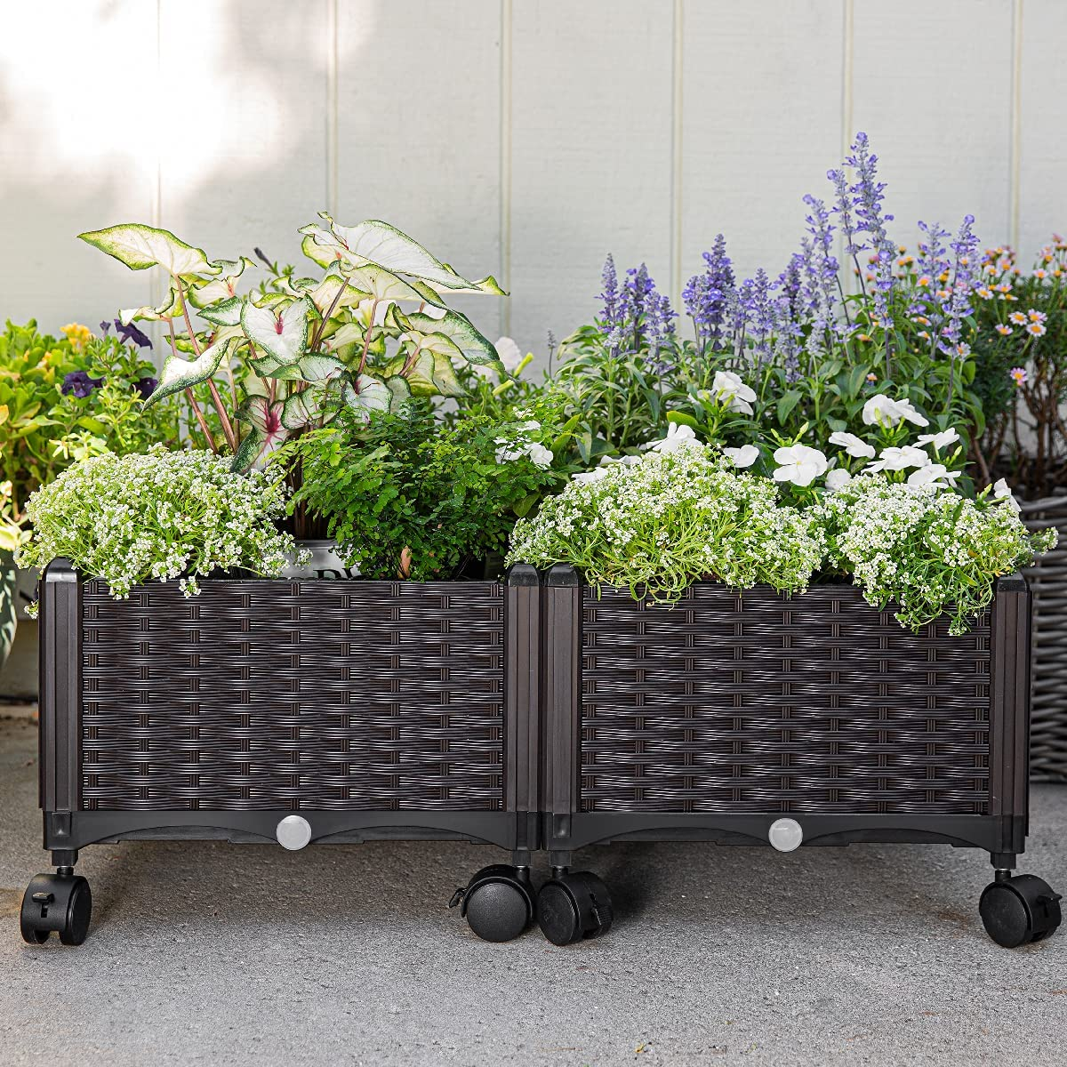 Barton 2-Pieces Plastic Raised Garden Bed Planter Box with Self-Watering Design & Drainage Holes Mobile Wheels, Brown