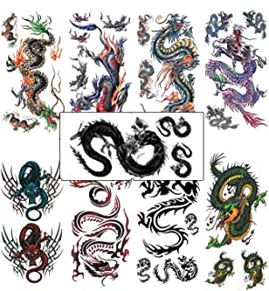 Assorted 9 Sheets Temporary Dragon Tattoos Chinese Character Waterproof Stickers for Kids Men Party Favors