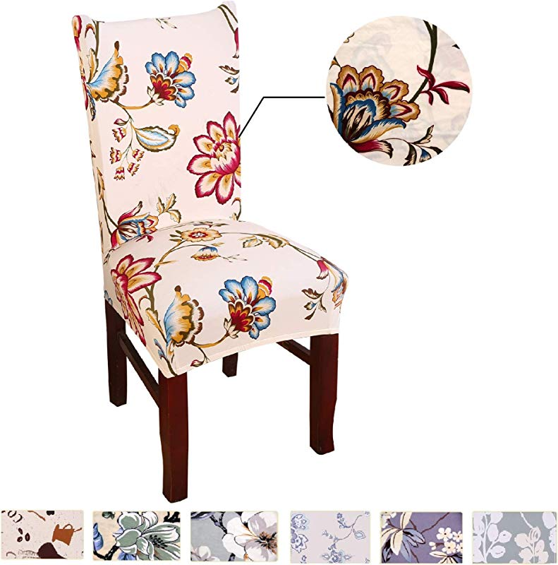 Argstar 6 Pack Chair Covers For Dining Room Spandex Slipcovers Spring Flower Design