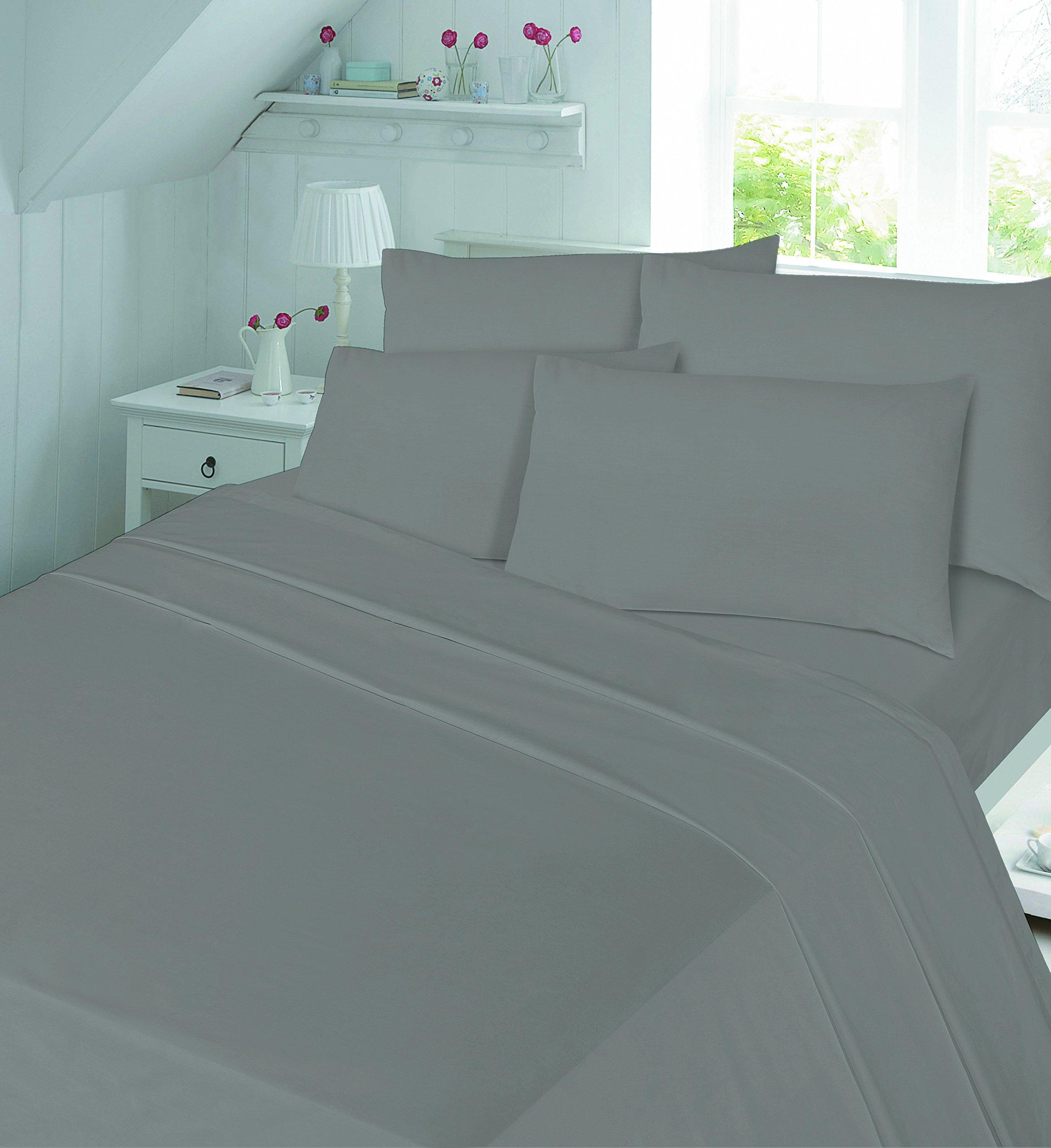 Nz Luxury Soft 100 Brushed Cotton Flannelette Flat Sheet Single Double And King Sizes King Grey Amazon Co Uk Kitchen Home