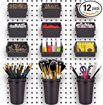 Pegboard Bins PegBoard Cups with Hooks & Loops 12 Pack Set, Peg Hooks Assortment Organizer Accessory, Various Tools Storage Arrange System Kit, for Garage Craft Workshop Workbench Hobby Office: image