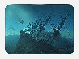 Ambesonne Nautical Bath Mat, Dolphins Ruined Wreckage Underwater Sunken Ship Mystery Treasure, Plush Bathroom Decor Mat with Non Slip Backing, 29.5