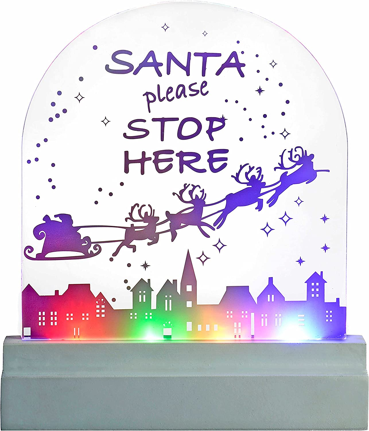 WeRChristmas Max 85% OFF Santa Please Stop Here LED Tabl Lights excellence Sign Acrylic