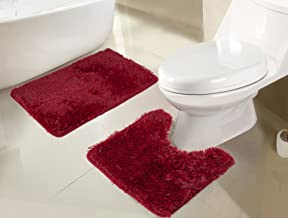 RT Designers Collection Jasper Shaggy 2-Piece Bath Set, Burgundy