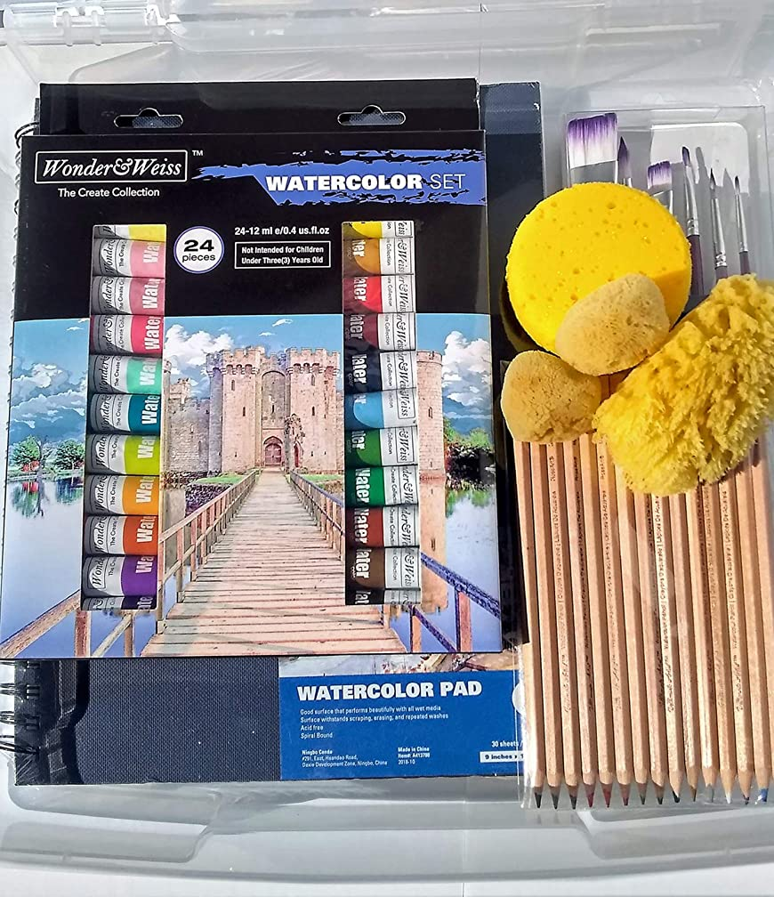 Watercolor Painting Set with Water Color Journal, Paint Brush Set, 24 Tubes of Watercolor Paint, Artist's Travel Case, Stretched Canvas, 30 Piece W/C Pencil Set, Sponges, Mixing Tray & More