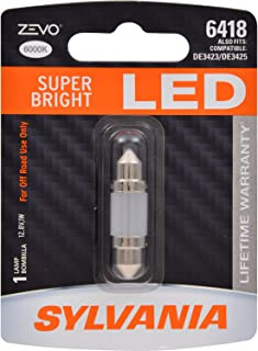 SYLVANIA - 6418 36mm ZEVO LED Festoon White Bulb - Bright LED Bulb, Ideal for Interior Lighting - Map, Dome, Trunk, Cargo and License Plate (Contains 1 Bulb)