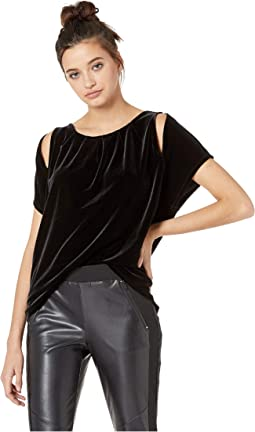 Stretch Velvet Cutout Top