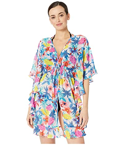 Bleu Rod Beattie A Place in the Sun Open Front Ruffle Caftan Cover-Up (Multi) Women