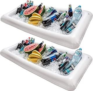 Barra hinchable para mesa de piscina, 2 unidades de bandeja grande para buffet con tapón de drenaje, mantiene tus ensaladas y bebidas frías – para fiestas, indor y uso al aire libre
