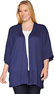 OneWorld Women's Solid Knit Kimono with Lace Trim