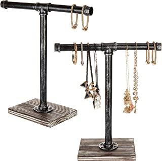 MyGift Torched Wood and Industrial Pipe T-Bar Jewelry Hanger Display Stands, Set of 2