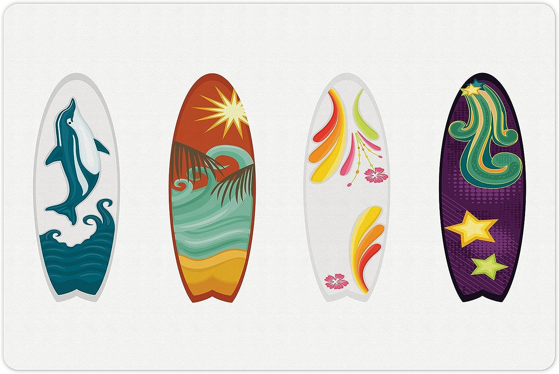 Lunarable Surfboard Pet Mat for Food 4 and Surfboards Water Popular standard Dol Oakland Mall
