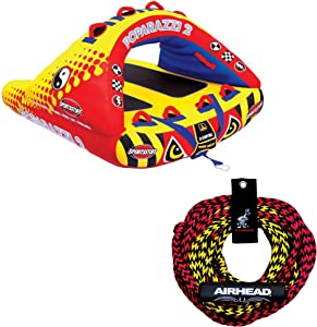 Airhead Poparazzi 2 Double Rider Wing-Shaped Towable Tube w/Rope with Floater