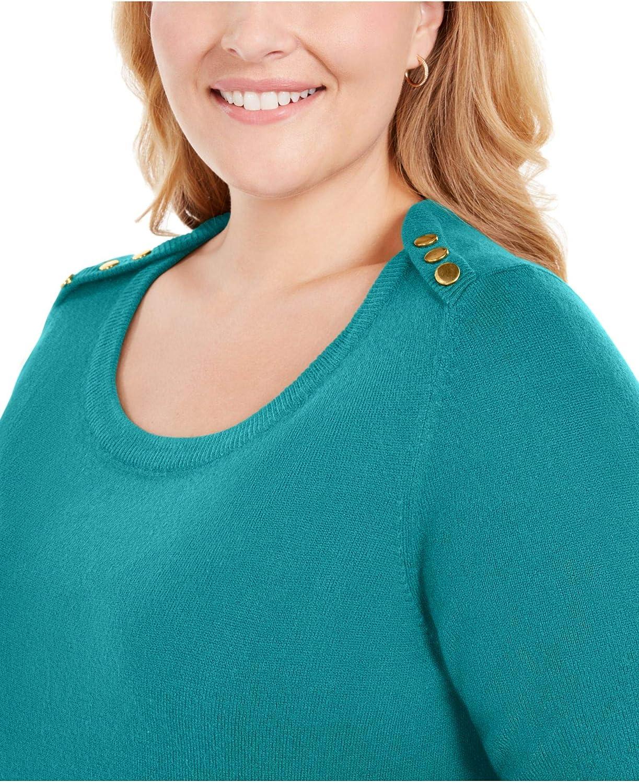Karen Scott Womens Teal Heather Long Sleeve Scoop Neck T-Shirt Top Size 2X