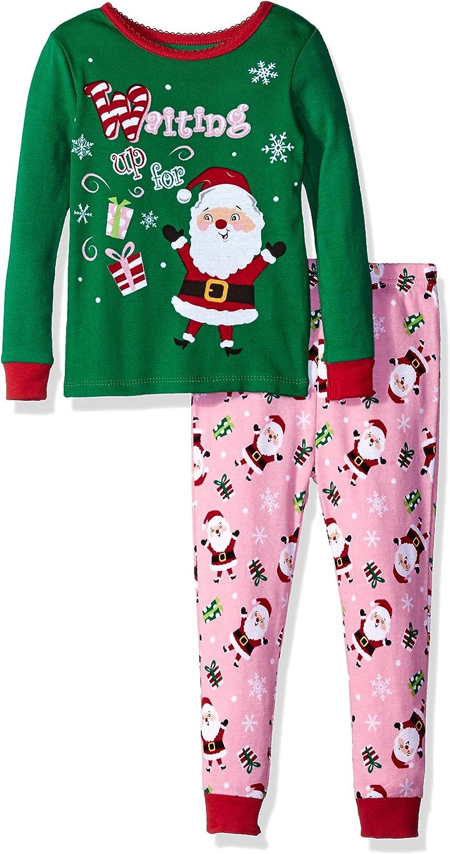 Komar Kids Girls' Little Holiday Print 2 Piece Cotton Tight fit Pajama