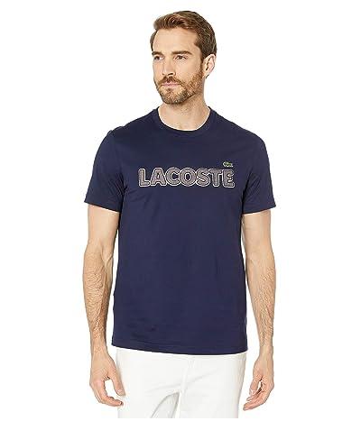Lacoste Short Sleeve Heavy Jersey Tattersall T-Shirt Regular (Navy Blue) Men