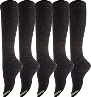 Lovely Annie Women's 5 Pairs Pack Knee High Cotton Socks Size(Black)