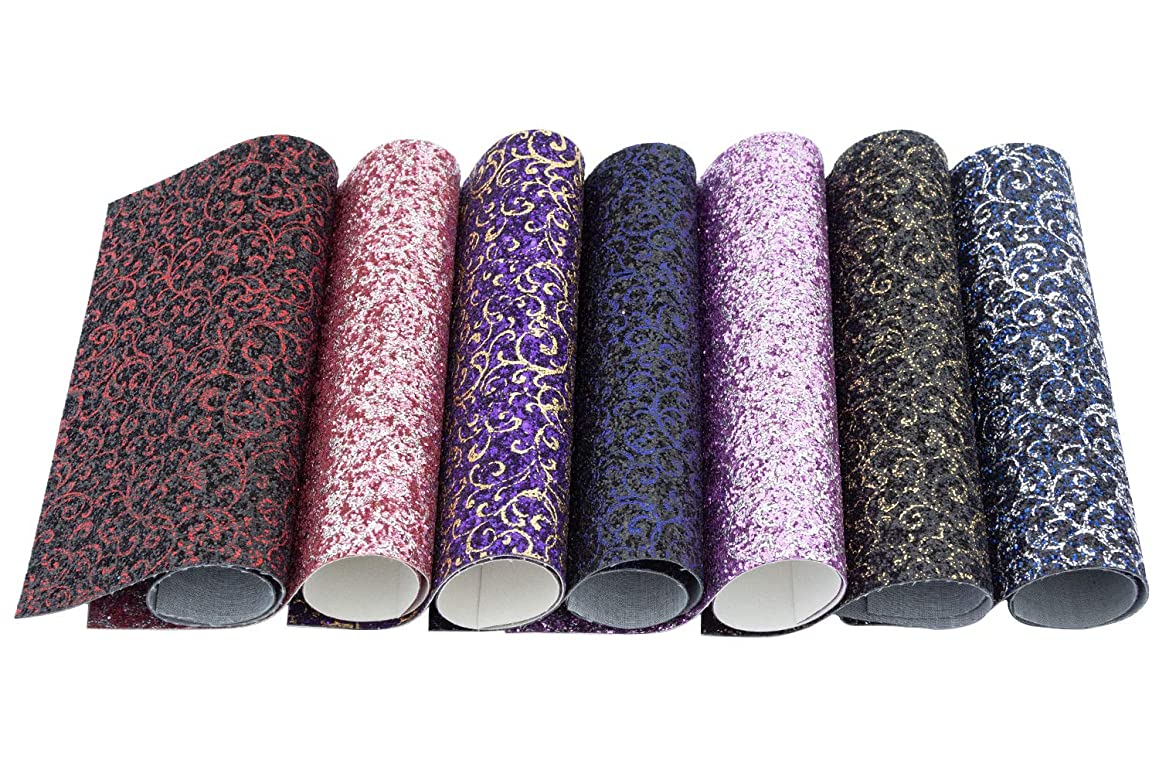 Meneng Vintage Style Flower Pattern Chunky Glitter Sequins Fabric Faux Leather Sheets, Assorted Colors DIY Shiny Craft Leather,7 Pieces 9''x13'' (Vintage Style)