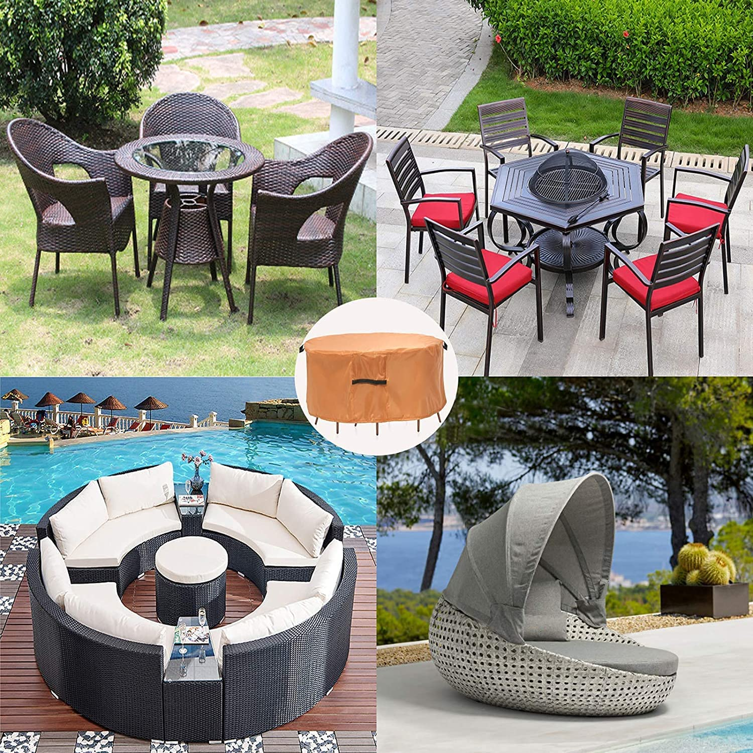 Buy Round Patio Furniture Covers, 9 Dia Outdoor Furniture Covers ...