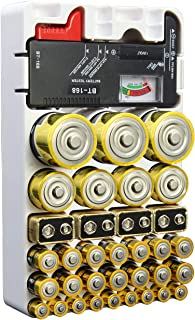 Whizzotech Battery Organizer and Tester for AA AAA C D 9V Battery Storage Holder/Container BL19(Hold 46 Batteries)