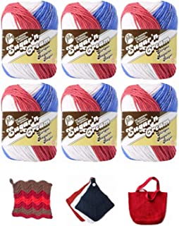 Lily Sugar n' Cream Variety Assortment 6 Pack Bundle American Stripes 100% Cotton Medium 4 Worsted with 3 Patterns (Multi 8)